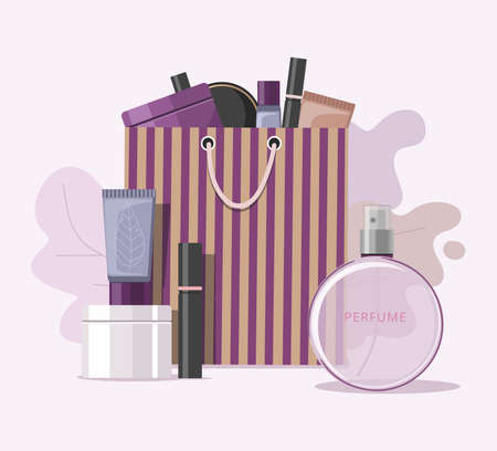 Cosmetics accessories on paper bag. Online shopping concept. Vector Illustration