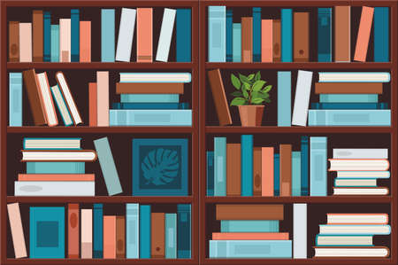 Bookshelve with books. Library and education concept.  Vector illustration