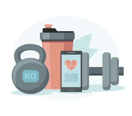 Sports equipment. Shaker, dumbbell and phone. Online training concept.  イラスト・ベクター素材