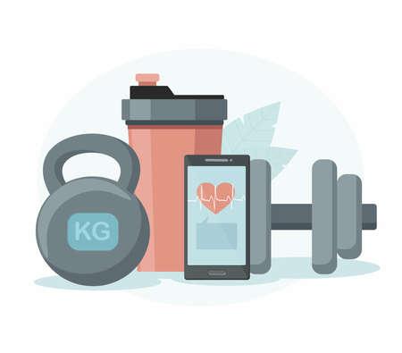 Sports equipment. Shaker, dumbbell and phone. Online training concept. Illusztráció