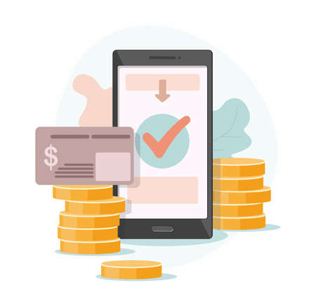 Mobile payment. Online receipt of money from a Bank card to a mobile wallet.  Gold coin transfer app Mobile payment, business Finance payment. Vector Illustration