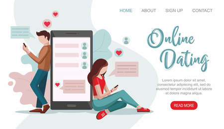 Male and female chatting on the Internet. Online Dating service. Virtual relationships concept.