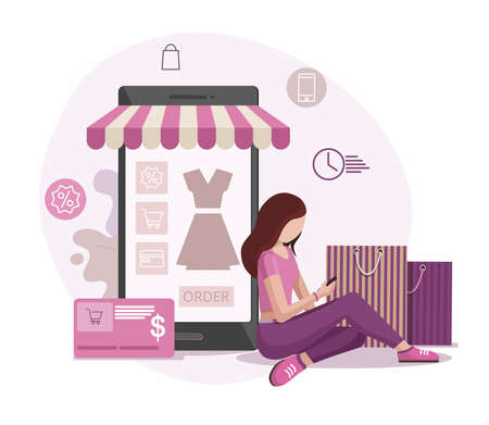 Order online, shopping concept. Girl shopping online with credit card and mobile phone in hands. Vector Illustration