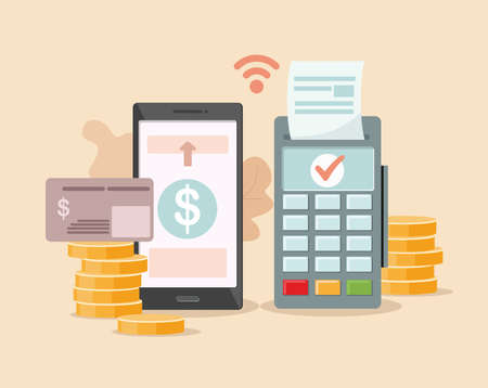 POS-terminal payment and financial transactions. Online and mobile payments concept. Vector Illustration