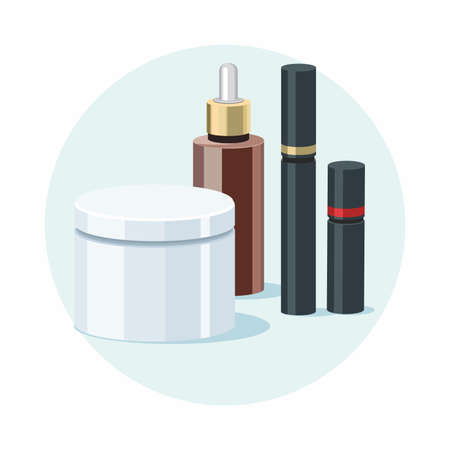Make Up products and Skincare beauty products. Vector template Illusztráció