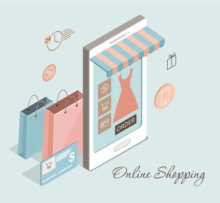 Online clothes shopping, e-commerce sales, digital marketing concept. Vector isometric illustration