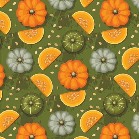 Autumn pattern of pumpkins on green background. Texture for thanksgiving, harvest and halloween. Illusztráció