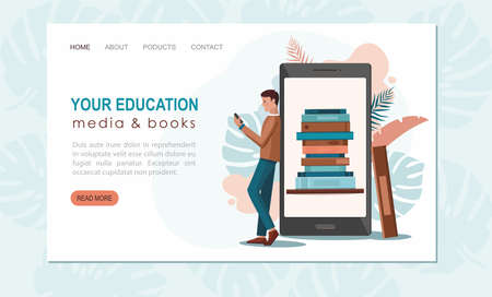 Online reading concept. Young man standing near phone and reads book. Web page template Illusztráció