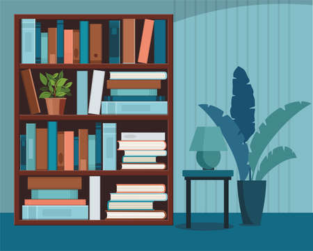 Bookshelve with books. Home interior. Library and education concept. Vector