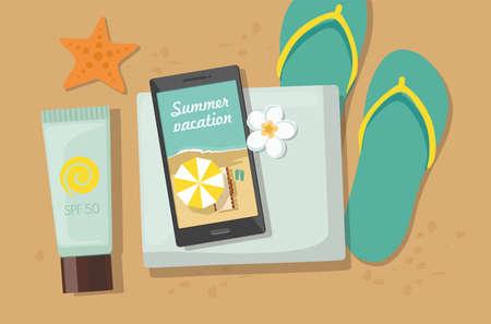 Beach accessories. Towel, flip-flops, sun block and phone on sand. Vector Illustration