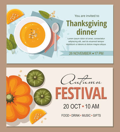 Autumn festival invitation with pumpkins. Thanksgiving greeting card. Pumpkin soup with spoon on table. Vector template