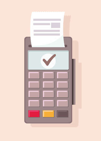 Payment terminal with keyboard - credit card payment. Vector cartoon illustration
