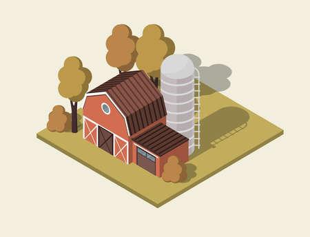farm house 3d isometric. Farmland Countryside Landscape. Vector