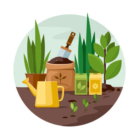 Gardening Tools and Plants in the garden. Vector Illustration Illusztráció