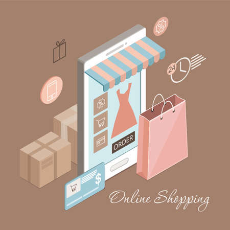 Online clothes shopping on mobile app. Smartphone with shopping bag, credit card and boxes. Vector isometric illustration