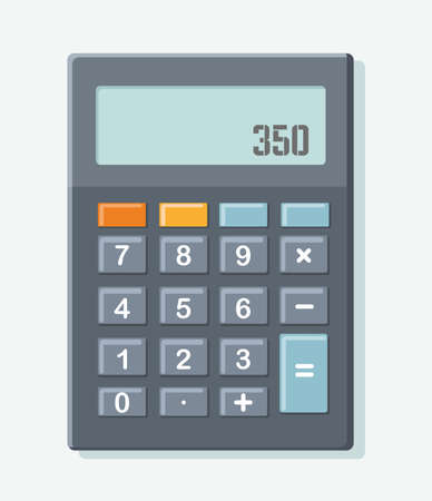 Electronic calculator on blue background. Top view. Vector illustration