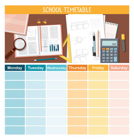 School timetable template with stationery for students or pupils.  Vector Illustration