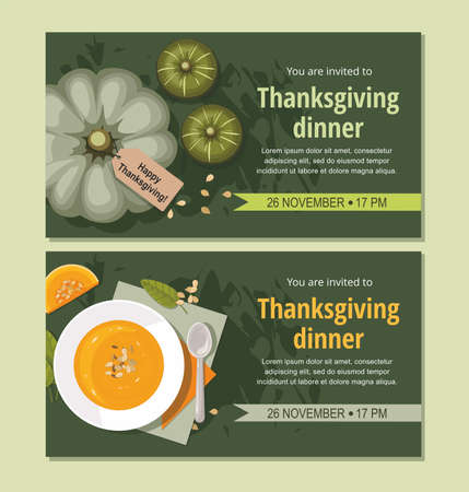 Thanksgiving invitation  cards. Pumpkin soup with spoon on table. Pumpkins on green background. Vector