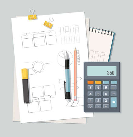 Back to school concept. Different stationery, Accounting, Finance Top view.