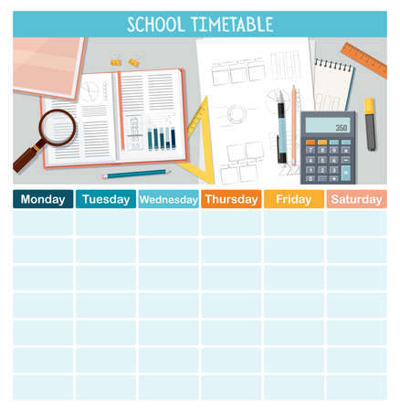 School timetable template with stationery for students or pupils. Vector Illustration Illusztráció