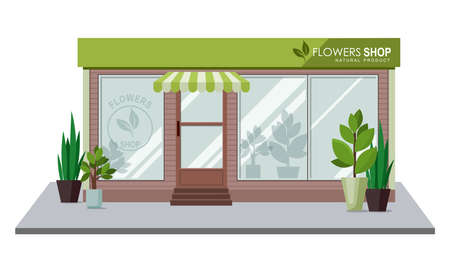Shop with home plants isolated on white background. Vector illustration Illusztráció
