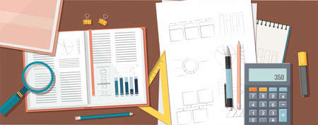 Back to school, education background. Books, calculator and other school supplies on the table. Top view. Vector Illustration