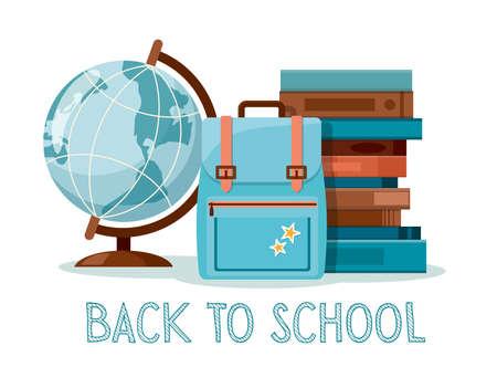 School supplies. Back to school, education background. Globe, books and  school bag. Vector Illustration Illusztráció