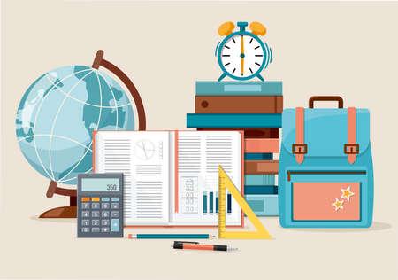 Back to school, education background. Globe, calculator, ruler, books, school bag and alarm clock