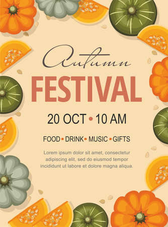 Autumn Harvest Festival banner template. Background with pumpkins and place for text. Hello autumn!