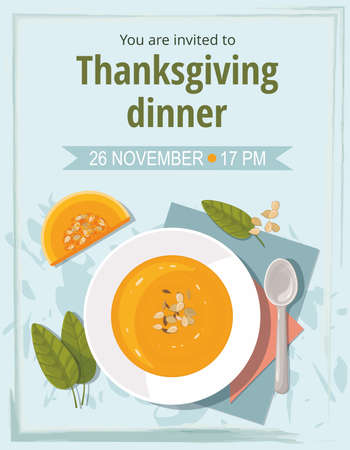 Pumpkin soup with spoon on blue background. Thanksgiving invitation card. Top view.
