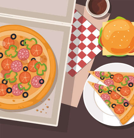 Cartoon pizza and burger on the table. Vector illustration  fast food.