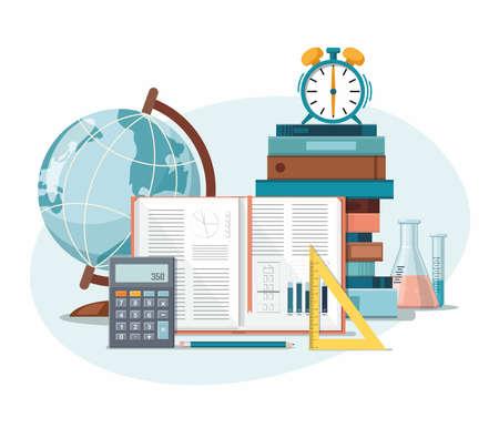 School supplies. Back to school, education background. Globe, calculator, ruler, books, school bag and alarm clock. Vector