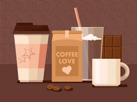 Coffee beans in the package, takeaway cup, mug, and chocolate. Vector Illustration