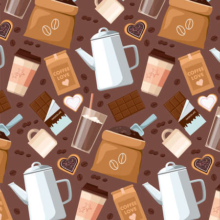 Seamless pattern of coffee beans, cups, Cezve, coffee to go, package or fabric cover, chocolate, cocoa and cookies. Vector background