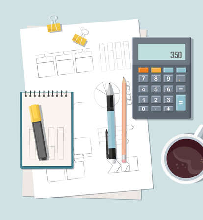 Office desk with documents, calculator and coffee. Finance report with graph charts. accounting and financial management. Top view. Vector
