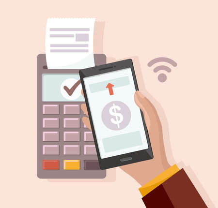 Mobile payment via smartphone. Hand holds mobile phone to do contactless payment and POS terminal. Vector Illustration