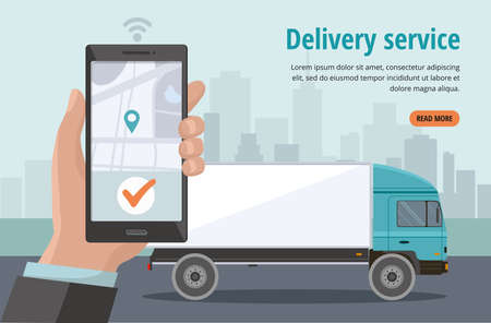 Online delivery van service concept, finding map on phone. Hand holding smartphone with mobile app for goods tracking and order. Vector