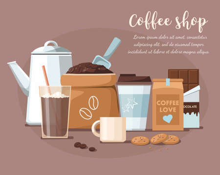 Coffee shop illustration. Coffee beans in the package, takeaway cup, mug, and chocolate. Illusztráció