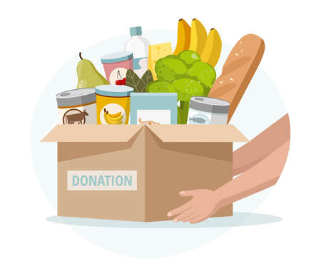 Food and grocery donation concept. Charity, food donation for needy and poor people. Vector illustration.