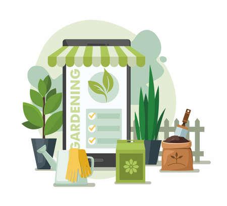 Gardening Tools and Plants. Online garden shop. Vector Illustration