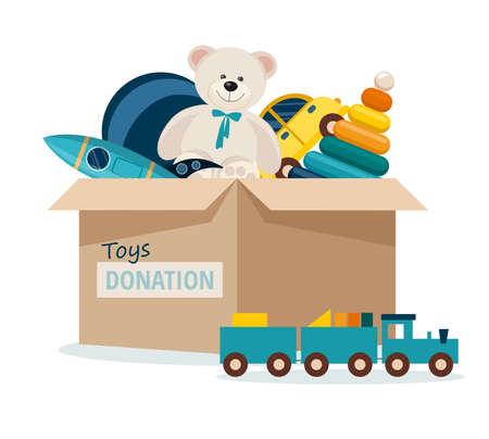 Charitable toys donation for kids. Toys donations box isolated on white background. Vector Illustration Illusztráció