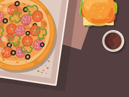 Cartoon pizza and burger on the table. Fast food.