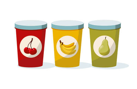 Variation of fruit yoghurts: cherry, banana and pear on a white background. Vector