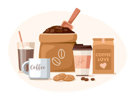Coffee shop. Coffee beans in the package, takeaway cup, mug, and chocolate. Vector Illustration Illusztráció
