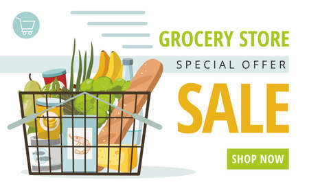 Shopping basket with grocery products on white background. Promotional sale banner. Vector Illustration