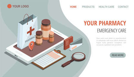 Online pharmacy isometric illustration. Smartphone with shopping bag, medical supplies, bottles liquids and pills. Drug store web page. Medicine, healthcare app.