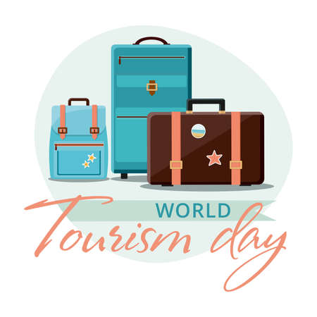 World Tourism Day, 27 September. Travel suitcases with stickers. Vector illustration.