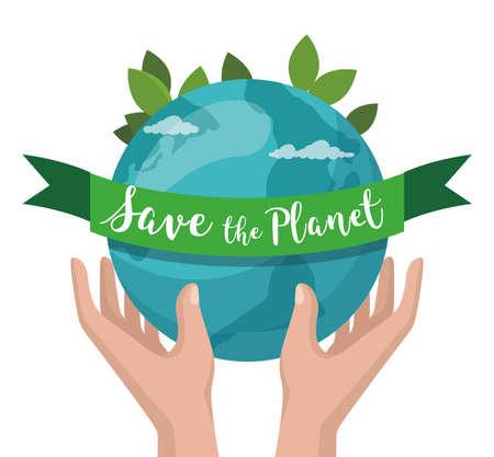 Hand hold earth. Save the Planet concept. Environment poster, Vector illustration Illusztráció