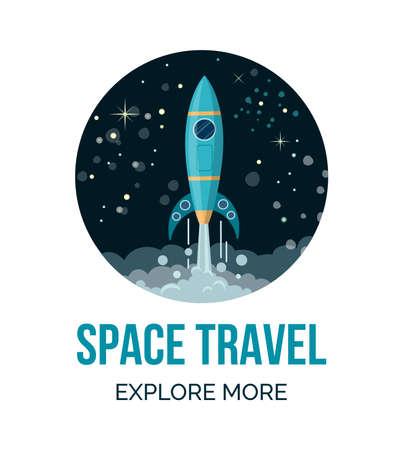 Space rocket flying in space. Night sky.   Vector illustration in round shape. Illusztráció