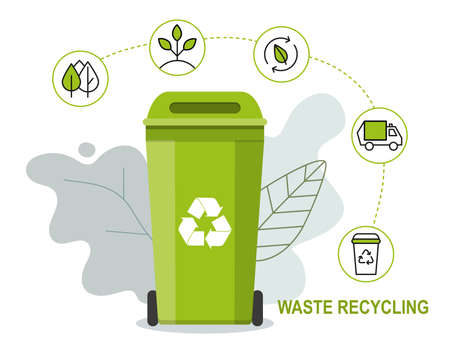 Green rubbish bin for recycling waste. Infographic